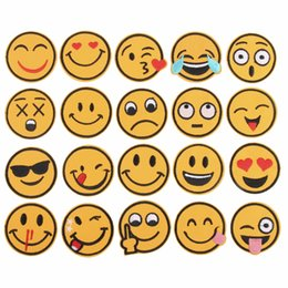 $enCountryForm.capitalKeyWord NZ - 20Pcs Set Mixed Emoji Iron on Embroidery Patches For Clothing Jeans Jacket Kids Patches Stripes Stickers For Clothes Decoration
