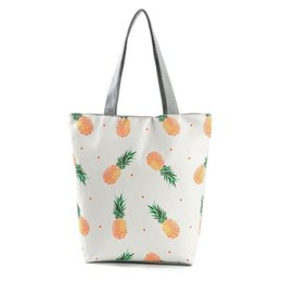 Chinese  good quality Casual Cartoon Pineapple Printed Tote Handbag Lady Summer Canvas Beach Bag Female Daily Use Shopping Bag manufacturers