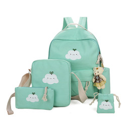 Chinese  Dropship School Bag Set Canvas Bear Pendant Backpack+Crossbody Bag+Pencil Bag+Purse For Teenage Girls Fashion Women Backpack manufacturers