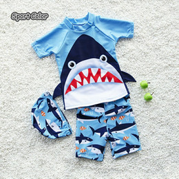 $enCountryForm.capitalKeyWord Australia - New Arrival Blue Kids Swimsuit Quality Boys Baby Swimwear Two-pieces Bath Suit Infant 3D Shark Lovely Children Beachwear 2-10Y