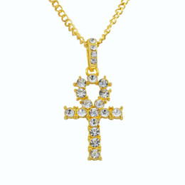 $enCountryForm.capitalKeyWord Australia - 10pcs Rhinestone Cross Pendant Gold Silver Alloy Material CZ Egyptian Key of Life Pendant Necklace Men Women Jewelry T-27