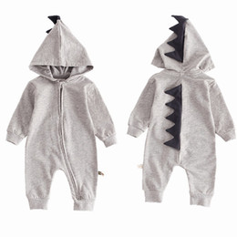 Wholesale rompers grey for sale – dress Baby Boy Girls Pink Grey Dinosaur Outfits Long Sleeve Soft Cotton Rompers Hooded Jumpsuit Autumn Overalls