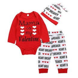 Valentines Clothes Australia - Valentine's Day Newborn Baby Girl Boy Letter My Valentine Romper Heart Print Pants Hat Outfits Set Clothes bebek giyim