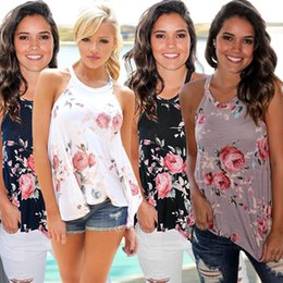 Floral Tees Wholesale Clothing Australia - Women Summer Floral Sleeveless Vest Tank Top Loose T Shirt Neck Strap Sexy Casual Irregular T-shirt Tee Beach Travel Clothes S-3xl B42602