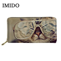 print custom cards NZ - IMIDO Brand Designer Women Wallet Cute 3D Animal Cat Print Long Leather Business Purse Card Holder Cases Custom Wallet 2019