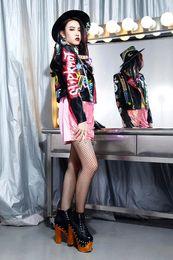 $enCountryForm.capitalKeyWord Australia - 2017 newest top quality women's ladies female's punk rivet Graffiti badges short motorcycle Locomotive leather jackets outwear free shipping