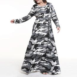 eee34a8e3b824 Female Big Size Long Dresses Spring Autumn Camouflage O-Neck Long Sleeve  Slim Tunic Top Dress Large Size Blouses Women Clothing