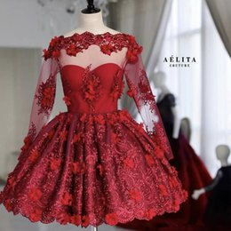 Red Floral Lace Prom Dress NZ - Red Short Prom Dresses Bateau Long Sleeve Lace 3D Floral Appliques Beads Mini Cooktail Gowns Evening Party Dress Homecoming Gown