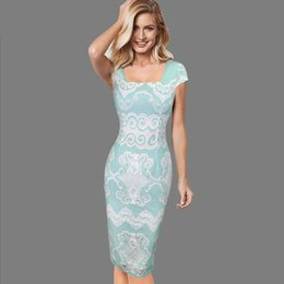 Wholesale sexy rockabilly dresses for sale – plus size Lcw New Design Womens Sexy Elegant Square Neck Vintage Rockabilly Pinup Geometry Mesh Slim Casual Work Party Bodycon Pencil Dress