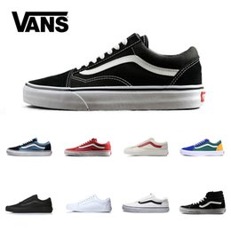 1466c91209f Brand Vans Old Skool For Men Women Casual Shoes Canvas Sneakers Black White  Red Blue Fashion Cheap Sport Skateboard Shoe Size 4.5-10
