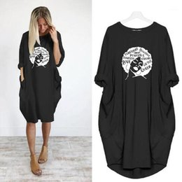 loose figures Australia - Long Sleeve Womens Clothing Figure Print Womens Casual Dresses Loose Panelled Womens Dresses Casual Pocket Pullover