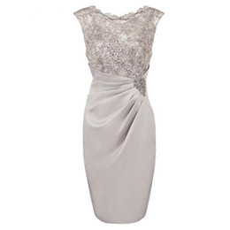 $enCountryForm.capitalKeyWord UK - Cap Sleeve Real Image Silver Gray Sheath Scoop Short Mother of The Bride Dress Sequined Satin Appliques Knee Length Guest Party Gown Elegant