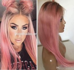 celebrity hairs NZ - Celebrity Wigs Lace Front Wig 10A Grade Ombre Pink Silky Straight European Virgin Human Hair Full Lace Wig for White Woman Free Shipping