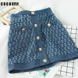 Gonne a vita alta Womens Denim Mini Skirt Moda Estate coreano una linea Gonna blu dell'anca del pacchetto Jeans Saia