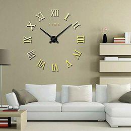 Discount roman wall clock - DIY 3D Large Wall Clock Roman Numeral Metallic Mirror Stick On Clock Home Decor
