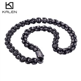 Long Chains For Men Australia - Kalen Punk 55~70cm Long Skull Necklaces For Men Stainless Steel Brushed Polished Charm Link Chains Male Gothic Jewelry 2018 J190616