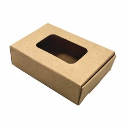 hollow board UK - 50Pcs Brown Kraft Paper Hollow Design Packaging Box Foldable Gifts Handmade Soap Packing Boxes Jewelry DIY Crafts Storage Carton Board Boxes