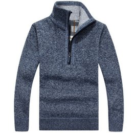 $enCountryForm.capitalKeyWord Australia - 2019 Autumn Winter New Men's Zipper Sweater Pullovers Stand Collar Slim Fit Thick Sweaters Male Solid Color Knitted Pullover 3XL