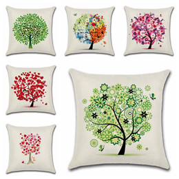Life Cases Australia - Tree of life Pillow Case Cartoon foliage Design Pillow Covers Colour Pattern Linen Pillow Cases Cushion Cover