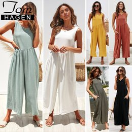 hooded jumpsuit green Australia - Long Rompers Womens Jumpsuit 2019 White Elegant High Waisted Wide Leg Jumpsuit Long Pants Female Backless Loose Overall Y19071701