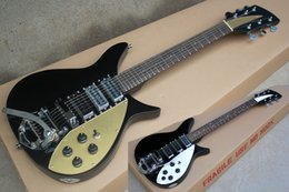 white guitar black hardware NZ - Factory Custom Black Electric Guitar with 6 Strings,527mm Scale LengthChrome Hardware,White&gold Pickguard,Tremolo System,Can be Customized