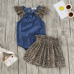 $enCountryForm.capitalKeyWord Australia - Infant Baby Girls Solid Denim Bodysuit Romper+Leopard Print Skirts Outfits Sets 2019 NEW Drop Shipping