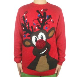 9de3e45dc Washable Funny Light Up Ugly Christmas Sweater for Men and Women Cool Mens  Knitted Xmas Reindeer Pullover Jumpers Plus Size