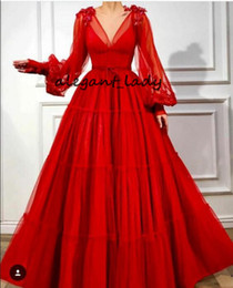 evening dresses butterfly sleeves NZ - Red Butterfly Formal Prom Dresses with Loose Puffy Sleeves 2019 V-neck Full length Arabic Princess Occasion Evening Wear Gown
