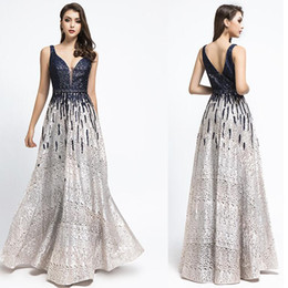 sexy cocktail dresses images Australia - Robe De Soiree Gatsby 2019 Luxury black sequins A-Line Evening Dresses yousef aljasmi sexy v Neck beaded crystal arabic Prom Gowns 5499