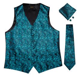 $enCountryForm.capitalKeyWord UK - Hi-Tie Men's Classic Green Solid Silk Jacquard Waistcoat Vest Handkerchief Cufflinks Party Wedding Tie Vest Suit Set MJTZ-00107