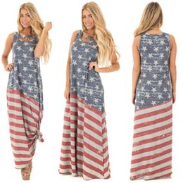 American Flag Dress Xl Australia - Independence Day women's summer American flag printed dresses fashion ladies maxi party dress oversized skirt plus size clothing S-2XL