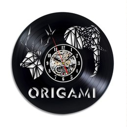 $enCountryForm.capitalKeyWord UK - Origami New 12 inch Vinyl Record Wall Clock Round Black Wall Clock Creative Clock Modern Home Decor Simple Living Room Decoration Best Gift