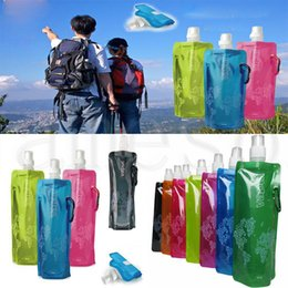 water bottle bags NZ - Wholesale 480ml Foldable Water Bottle Portable Folding Sports Cylcing Bike Water Bag Water Bladder 500pcs lot dc705
