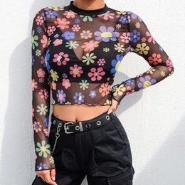 $enCountryForm.capitalKeyWord Australia - Sexy Mesh Crop Top T Shirt Long Sleeve Women Print Perspective O-neck Bodycon Cropped Summer Streetwear Cropped Tee Shirt Femme