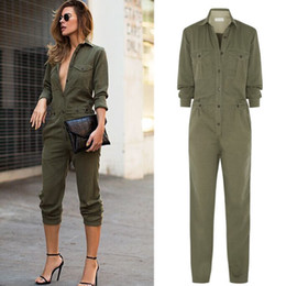 nice jumpsuits Australia - Nice Fashion Women Slim Bodycon Jumpsuit Long Sleeve Army Green Solid Casual Bodysuit Ladies Sexy Vintage Romper Long Jumpsuit