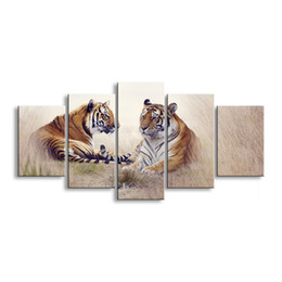 Art Canvas Prints Australia - 5 pieces high-definition print tiger canvas painting poster and wall art living room picture B-012A