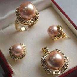 $enCountryForm.capitalKeyWord Australia - real silver-jewelry Women's Wedding Light Pink South sea Shell Pearl Earrings Ring Necklace Pendant Set> Bridal w brinco
