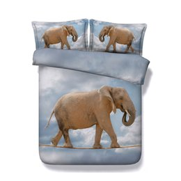 Animal Twin Comforter Set Australia - Animals Elephant Print 3 Pieces Duvet Cover Set 2 Pillow Shams No Comforter Kids Girls Bedding Sets Cotton Polyester For Teens Boys Adult