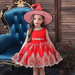 Beautiful girl hats online shopping - Hot Sale Beautiful Halloween Party Girl Dresses All Hallows Day Party Cosplay Dresses with Witch Magic Hats