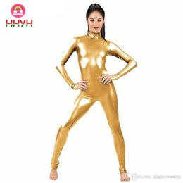 31b06669c Jumpsuit Clubwear Stagewear Purim Party Pole Dancing Costumes Gold Sexy High  Collar 2019 Women Zip Patent Leather Bodysuit