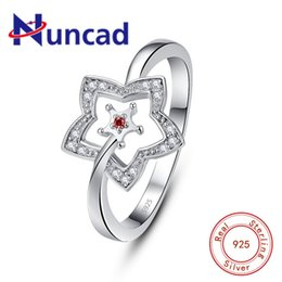 $enCountryForm.capitalKeyWord Australia - wholesale Hot Sale 925 Sterling Silver Ring Simple Hollow Five-pointed Star Clear Red CZ Finger Ring Female Christmas Gift Jewelry