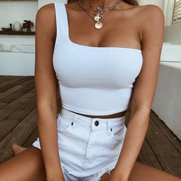 $enCountryForm.capitalKeyWord NZ - White Crop Top Sexy Tank Tops For Women Summer One Shoulder Tops 2019 Short Sleeveless Black Top Women Sexy Cropped Clothing