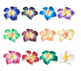 Discount porcelain flowers wholesale - 150pcs lot MIX COLORS Polymer Clay Plumeria Flower Beads 15mm Loose Beads FOR BRACELET DIY JEWELRY MAKING