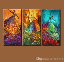 contemporary figure paintings NZ - Set of 3PCS Peacock Dance,genuine Hand Painted Contemporary Abstract Wall Decor Art Oil Painting. Multi customized sizes Framed Available