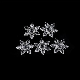 Crystal Christmas Ornament Clear Wholesale Australia - 5pcs pack Crystal Clear Acrylic Snowflakes Christmas Snowflake Ornaments Party Holiday Christmas Decoration Xmas DIY Decor