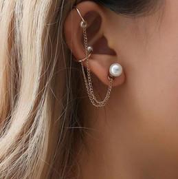 2018 New Fashion Tassel Chain Imitation Pearl Earrings For Women Punk Style Ear  Cuff Clip Earrings Female Jewelry d87a7975f192