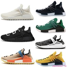 trail trainers UK - New Human Race trail running shoes Pharrell Williams Hu runner Nerd black Yellow Black White women mens trainers sports sneakers size 36-47