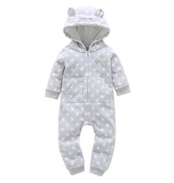 rompers for boy babies Canada - Christmas 2019 orangemom Bear Baby Clothing Thickening fleece baby rompers cartoon Hooded Jumpsuit for baby girl boy clothesMX190912