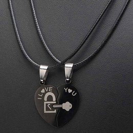 f98cda3ca 2Pcs Set Titanium Steel Puzzle Couple Necklaces Black Love Lock And Key Jigsaw  Heart Puzzle Pieces Charms Metal Necklace Jewelry