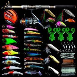 Flying lures kit online shopping - Fishing Rod Reel Line Combo Full Kits Fishing Rod Gear Spinning Reel Line Lures Hooks with Fishing Bag Soft Lures Float Hook Swivel Factory